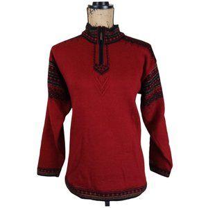 Dale of Norway Red Wool Quarter Zip Sweater - N130